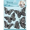 Декор.наклейка Бабочки черные мерцающие CBA1401
