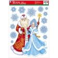 Декор.наклейка Дед Мороз со Снегурочкой WDX0006BK
